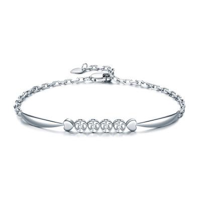 佐卡伊zocai-天使之吻 精美白18k金手链 钻石手链18K手链女款