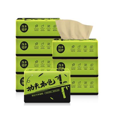 植护 抽纸 功夫本色系列(黑绿) 3层100抽*8包 小规格竹浆本色抽纸