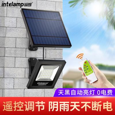 穎朗太陽能燈戶外庭院燈新農村家用室內3米投光燈防水光控 垃圾分類LED路燈 升級版帶遙控【24小時內發貨】