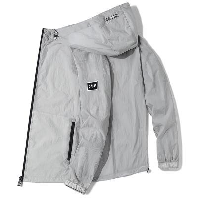 波斯萊 2020新款防曬服夏季輕薄透氣夾克男潮流男士純色戶外防潑水外套經典連帽外搭男裝C
