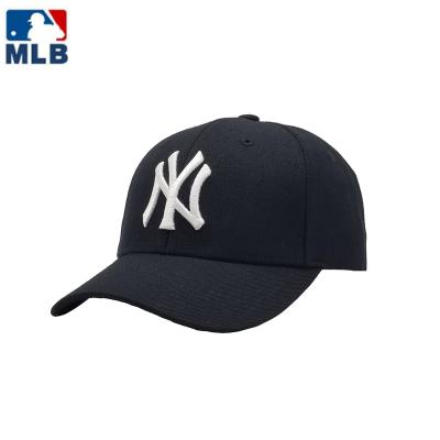 MLB 2020新款正品棒球帽女白色百搭鴨舌帽男洋氣帽子ny洋基隊情侶款遮陽帽 黑藍白標