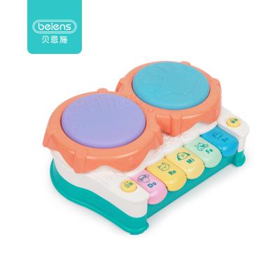 貝恩施 嬰兒玩具0-1歲寶寶手拍鼓 兒童音樂玩具 早教故事機拍拍鼓 HY2200冰綠色