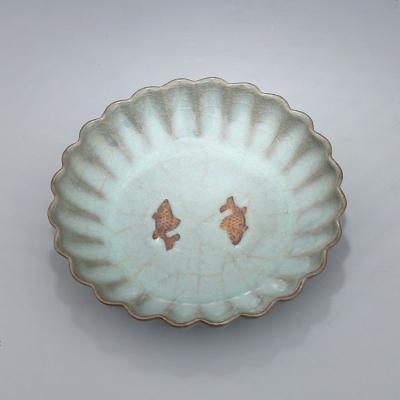 宋 官窯 天青釉 棱口雙魚紋洗 古董瓷器古玩古瓷器 老貨舊貨收藏