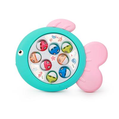 貝恩施 音樂釣魚嬰兒童玩具1-3歲旋轉盤套裝升級版 嬰兒益智玩具 歡樂釣魚盤(藍色)