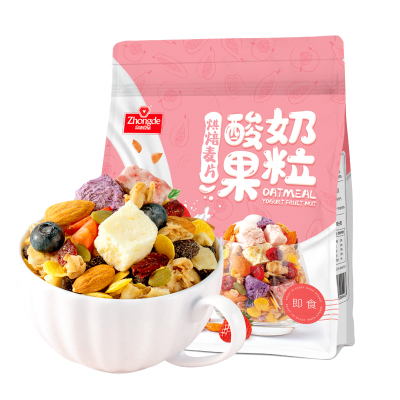眾德酸奶果粒水果堅果燕麥片沖泡早餐即食沖飲速食懶人食品500g