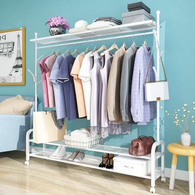家用晾衣架落地折叠卧室内挂衣架单杆宿舍衣帽架简易置物衣服晒架
