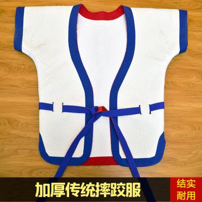自由传统式摔跤服中式摔跤衣加厚中国式褡裢跤衣红蓝白双面穿跤服 白跤衣13号(身高130-140cm) 均码
