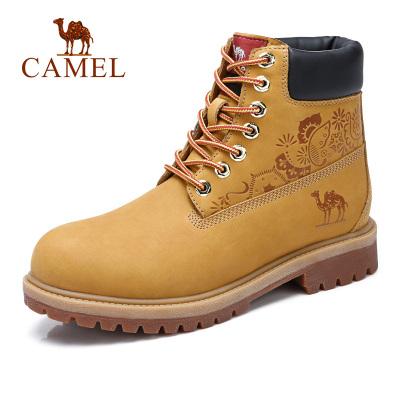 camel駱駝男鞋秋季新款工裝靴百搭時尚高幫工裝鞋牛皮潮休閑馬丁靴