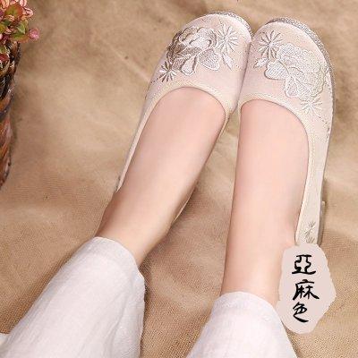 繡花鞋老北京布鞋女軟底舒適透氣夏款單鞋民族風跳舞鞋