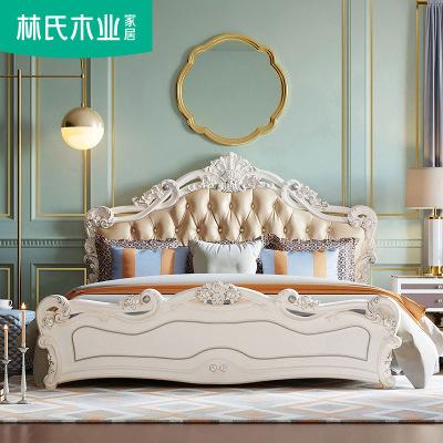 林氏木业床 欧式床双人床1.8米 现代简约主卧大床婚床家具KA628H