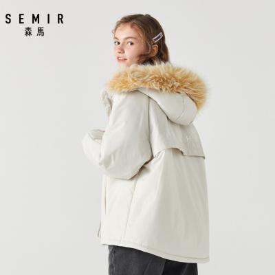 Semir森马经典短款小派克棉服女2019冬季新款大毛领连帽外套韩版小个子