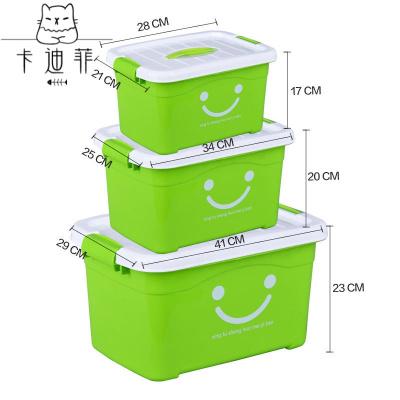 【品质优选】收纳箱塑料特大号小号储物箱被子衣服玩具整理箱子收纳盒车载家用猫太子 绿色笑脸 特惠价【巨大号+中号】2个