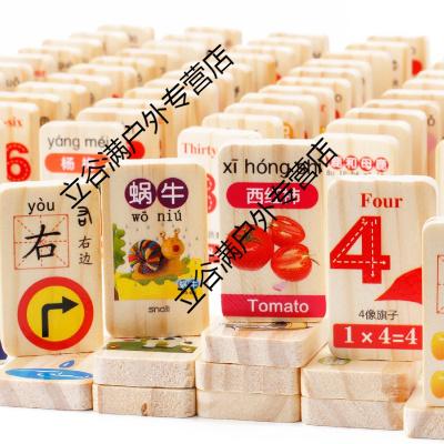 兒童認知漢字學拼音數字多米諾骨牌木制積木玩具3-4-5-6周歲