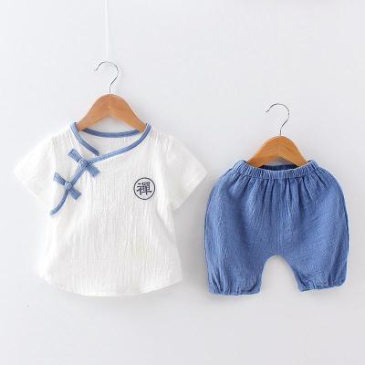 寶寶唐裝男童漢服兒童夏裝棉麻短袖套裝中國風嬰兒衣服夏季兩件套