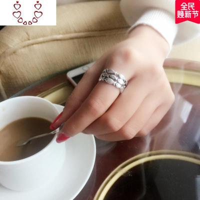 s925純銀創意個性潮人小魚群紅瑪瑙日韓簡約清新學生食指戒指環女 Chunmi