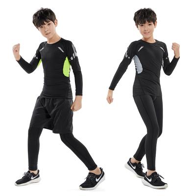 18公主(SHIBAGONGZHU)兒童運動緊身衣套裝男長袖跑步籃球足球訓練健身服彈力打底速干衣