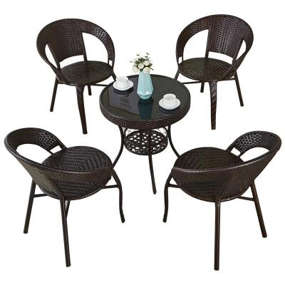 簡易陽臺小茶桌家用小戶型喝茶桌客廳藤編小茶幾桌椅組合玻璃圓形 弧威