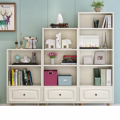 北歐書柜書架兒童實木簡約自由組合置物柜日式客廳落地簡易小書架 寬60cm高165cm白色