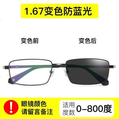 变色防蓝光眼镜抗近视眼睛防雾防辐射眼镜钛电脑手机护眼镜男