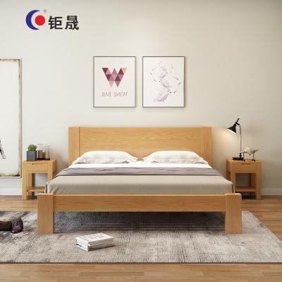 钜晟 新中式 实木床员工宿舍床办公接待床简易实木床1.5米JSMC-1500-2原木色 黑胡桃色 床+床垫+床头柜1个