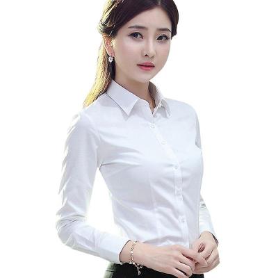 衫依格2019夏季白襯衫女長袖修身職業裝大碼女裝正裝白領襯衣工裝白襯衣女韓版