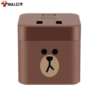 公牛(BULL)GNV-U9212B布朗熊魔方二位雙USB無線插座接線板LINE FRIENDS聯名款棕色插頭