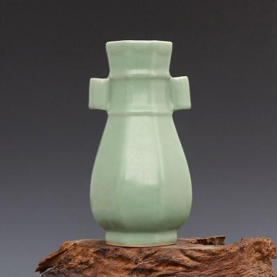 宋 龙泉窑 梅子青 八方贯耳瓶 古董瓷器古玩古瓷器 老货旧货收藏