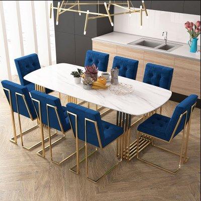 北欧ins大理石餐桌椅组合轻奢46人长方形简约现代小户型吃饭桌家_272_196