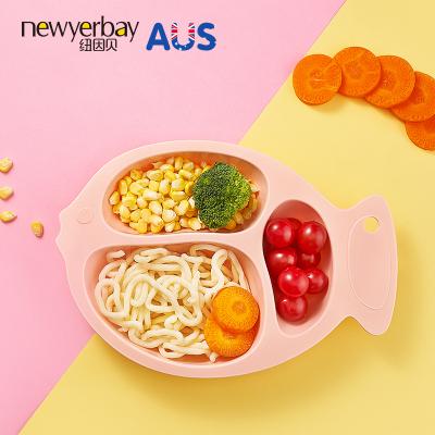 紐因貝餐盤 小魚分格餐盤(粉色)兒童餐具創意卡通早餐盤子碗可愛家用分格盤