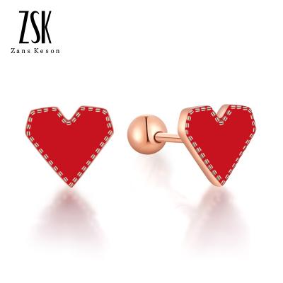 ZSK珠寶 銀飾 純銀耳釘女士愛心心形首飾耳環日韓耳飾品女生生日禮物節日 情人節送女友送老婆 925銀耳釘