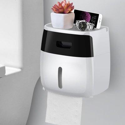 衛生紙盒衛生間紙巾廁紙置物架廁所家用免打孔創意防水抽紙卷紙筒 雙層 半透黑(收藏加購優先發貨)