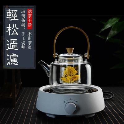 玻璃煮茶壺提梁壺蒸汽煮茶器燒泡茶壺電熱煮茶燒水壺錘紋竹把家用