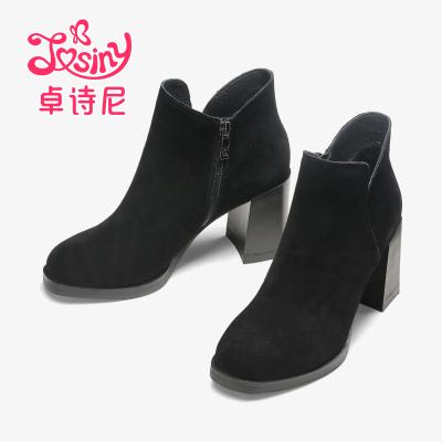 卓詩尼2017冬季新款圓頭高跟粗跟絨面側拉鏈女士時裝靴12671091