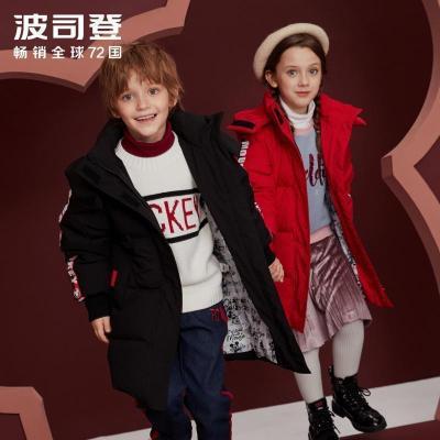 波司登童装新款男女童儿童迪士尼米奇中长款连帽羽绒服T90142732D
