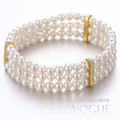 佰色傳情天然淡水珍珠手鏈手環三層多層彈力繩可調節時尚氣質