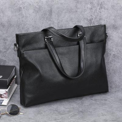 梵蒂加(VENTIGA)新款LZ-7006男士手提包商務時尚手提頭層牛皮橫款公文電腦包牛皮休閑男包 商務休閑包手提包