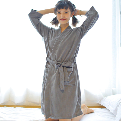 夏季薄款浴袍女华夫格睡袍男长款吸水速干浴衣睡衣情侣服