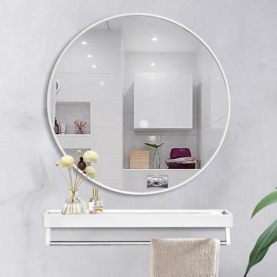 衛生間浴室圓鏡帶置物架納麗雅壁掛鏡子掛墻洗臉盆廁所洗手間鏡子免打孔
