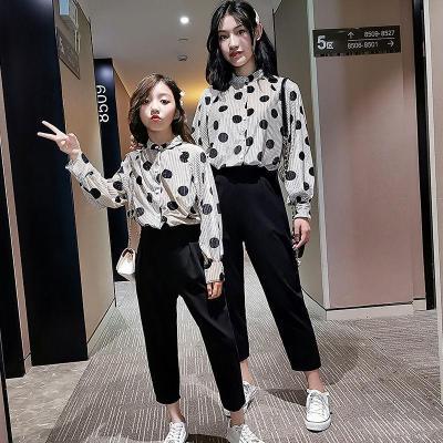 母女裝秋裝兩件套2019韓版新款中大童女童圓點波點套裝時尚親子裝滌綸莎丞