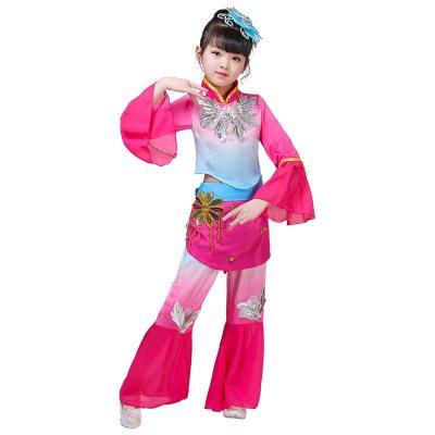 新款六一兒童秧歌服演出服喜慶扇子舞腰鼓民族舞小學生表演服女童