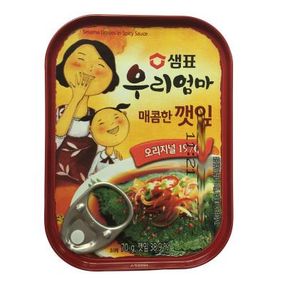 韓國進口膳府 辣味紫蘇葉罐頭70g下飯菜泡菜即食配菜罐頭