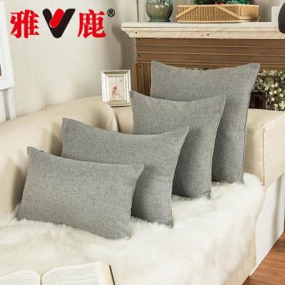 雅鹿 竹結麻抱枕 沙發靠背臥室床頭靠枕飄窗靠墊 純色北歐風靠墊