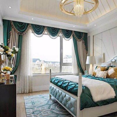【每平米價格】祖母綠配淺卡其色啞光絨布輕奢歐式法式風格配水波簾幔臥室客廳簾