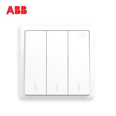 ABB開關插座遠致明凈白墻壁86型開關面板三開單控帶熒光開關AO103