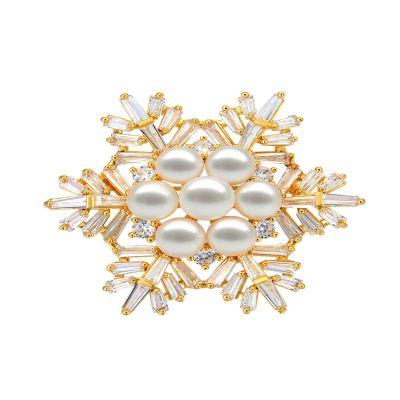 古莉(COULISSE)雪花珍珠女士胸針鍍金高檔奢華西裝大衣配飾別針P0200