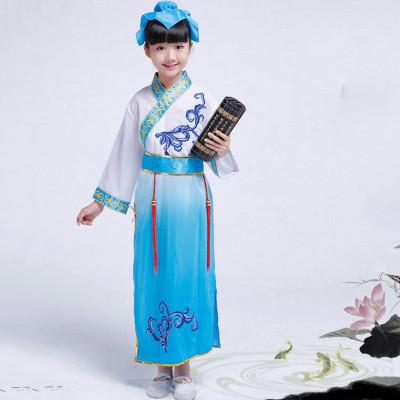 六一儿童节演出服书童儿童国学汉服三字经弟子规服装女童古装表演经典