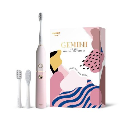 usmile 電動牙刷 成人款情侶版 聲波級雙子電動牙刷 蜜桃粉