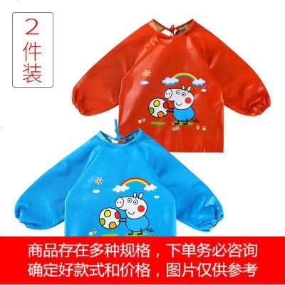 幼儿童围裙反穿衣防水男童女童画画衣长袖吃饭护衣全PU皮宝宝罩衣