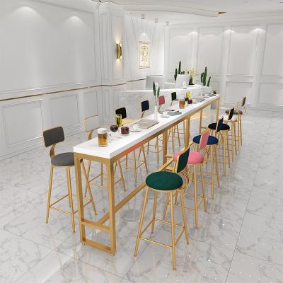 尋木匠鐵藝實木吧臺桌簡約現代酒吧咖啡廳靠墻高腳大理石奶茶店桌椅組合