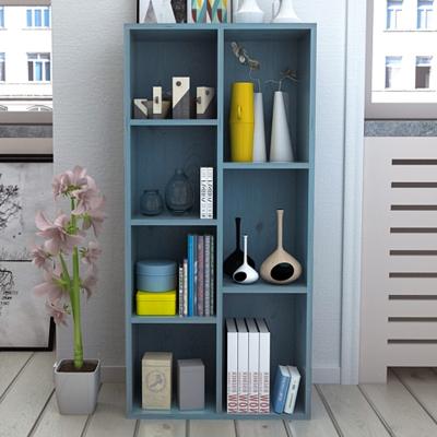 書柜書架落地簡約現代小柜子置物柜儲物柜自由組合格子柜書柜帶門 三層八格仿實木色